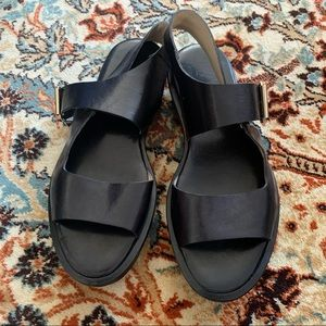 AGL Black Leather Buckle Platform Sandals